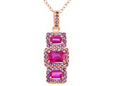 SYNTHETIC RUBY AND AMETHYST 18K ROSE GOLD OVER STERLING SILVER PENDANT 1.49CTW