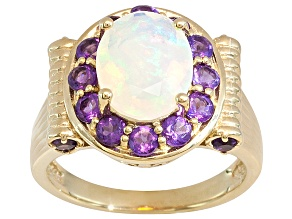 Womens Halo Ring Solid Opal Purple Amethyst 2.50ctw 18k Gold Over Silver