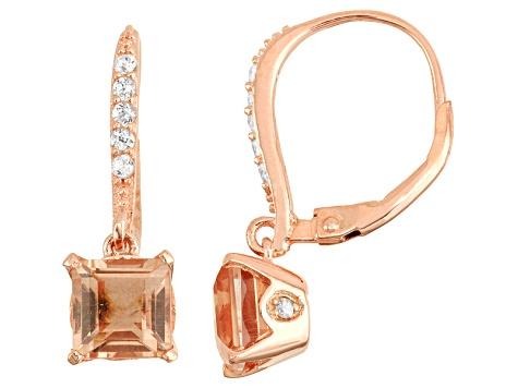 14kt Rose Gold Over Sterling Silver Multi Gemstone Dangle Leverback Earrings