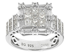 White Zircon Sterling Silver Ring 2.40ctw