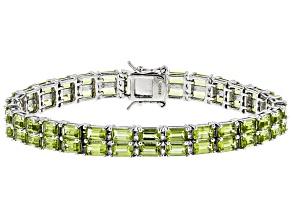 Green Peridot Sterling Silver Bracelet 14.76ctw