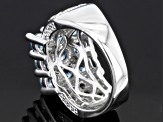 Blue Cambodian Zircon Sterling Silver Ring 4.22ctw