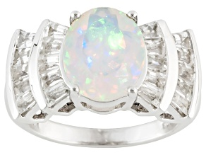 Multi Color Ethiopian Opal Sterling Silver Ring 3.52ctw