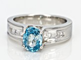 Blue Zircon Sterling Silver Ring 2.20ctw