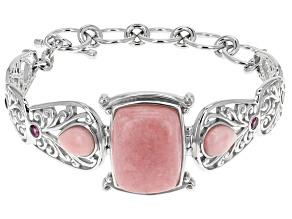 Pink Peruvian Opal Sterling Silver Bracelet .51ctw