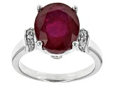 Mahaleo Ruby Sterling Silver Ring 6.50ctw