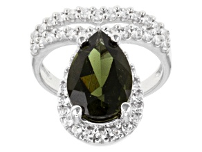 Green Moldavite Sterling Silver Ring 3.91ctw