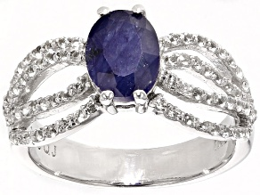 Mahaleo Sapphire And White Topaz Sterling Silver Ring 2.01ctw