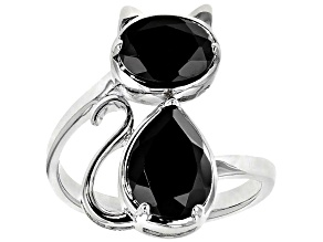 Black Spinel Rhodium Over Sterling Silver Cat Ring 3.36ctw