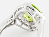 Green Peridot And White Topaz Sterling Silver Ring 3.46ctw