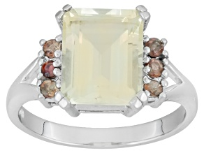 Yellow Labradorite Rhodium Over Sterling Silver Ring 2.93ctw