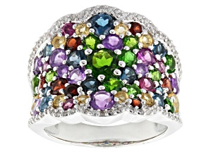 Multi Gem Sterling Silver Ring 5.11ctw