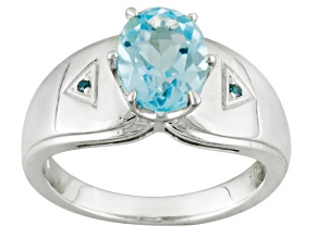 Sky blue topaz sterling silver ring 2.27ctw.