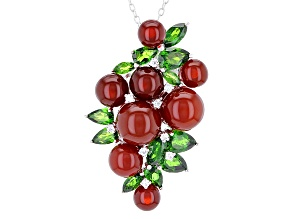 Red Agate Silver Holiday Pendant With Chain 2.71ctw