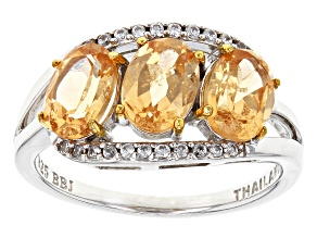 Golden Imperial Hessonite™ Sterling Silver 3-Stone Ring 2.45ctw