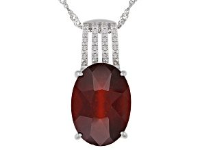 Red Hessonite Sterling Silver Solitaire Pendant With Chain 12.50ct