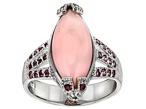Pink Peruvian Opal Sterling Silver Ring .34ctw