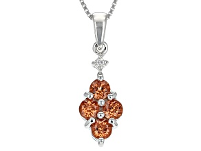Orange Mandarin Garnet Sterling Silver Pendant With Chain 1.17ctw