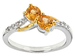 Orange Spessartite Two-Tone Sterling Silver Ring .65ctw