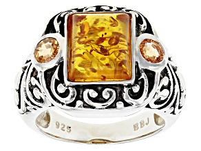 Orange Amber Sterling Silver Ring 1.64ctw
