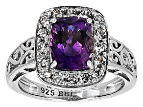 Purple Amethyst Sterling Silver Ring 2.20ctw