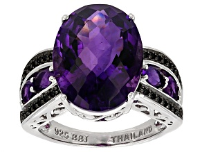Purple Amethyst Sterling Silver Ring 7.76ctw