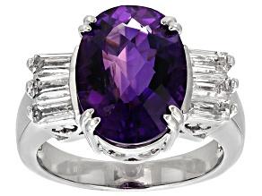 Purple Amethyst Sterling Silver Ring 5.74ctw