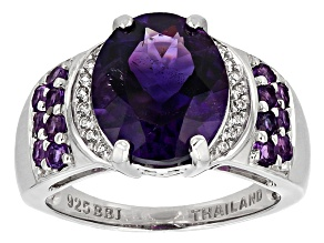 Purple Amethyst Sterling Silver Ring 4.05ctw