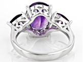 Purple Amethyst Sterling Silver Ring 3.20ctw