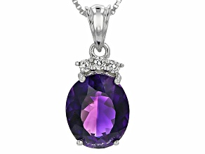 Purple Amethyst Sterling Silver Pendant With Chain 3.64ctw
