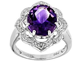 Purple Amethyst Sterling Silver Ring 3.73ctw