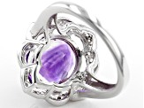 Purple Amethyst Sterling Silver Ring 3.73ctw