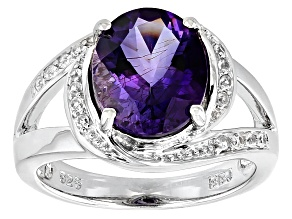 Purple Amethyst Sterling Silver Ring 2.76ctw