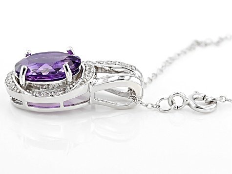Purple Amethyst Sterling Silver Pendant With Chain 2.83ctw