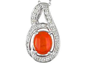 Orange Ethiopian Opal Sterling Silver Pendant And Chain 1.33ctw