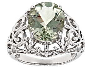 Green Prasiolite Rhodium Over Sterling Silver Ring 3.63ct