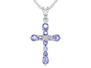 Blue Tanzanite Rhodium Over Sterling Silver Cross Pendant And Chain 1.10ctw