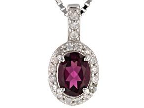 Purple Rhodolite Silver Pendant With Chain .92ctw