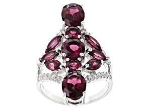 Purple Rhodolite Sterling Silver Ring 5.77ctw