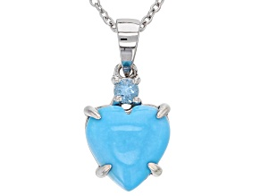 Blue turquoise silver pendant with chain .15ct