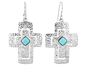 Blue Turquoise Sterling Silver Cross Earrings
