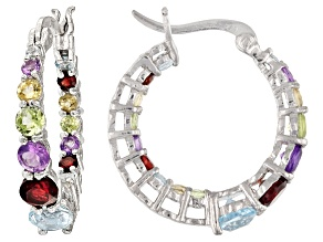 Multi-Stone Sterling Silver Hoop Earrings 2.66ctw