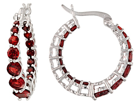 Red Garnet Sterling Silver Hoop Earrings 3 04ctw