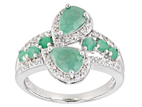 Green Emerald Sterling Silver Ring 1.68ctw