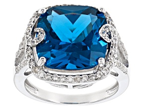 Blue Lab Created Spinel Sterling Silver Ring 9.26ctw