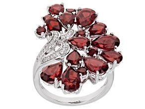 Red Garnet Sterling Silver Ring 8.08ctw