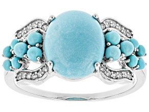 Blue Turquoise Sterling Silver Ring .14ctw