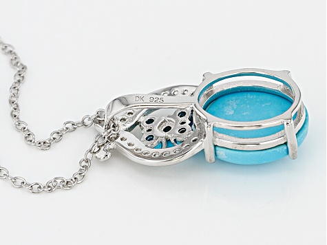 Blue Turquoise Sterling Silver Pendant With Chain .11ctw