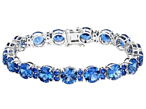 Blue Lab Spinel Sterling Silver Bracelet 42.71ctw