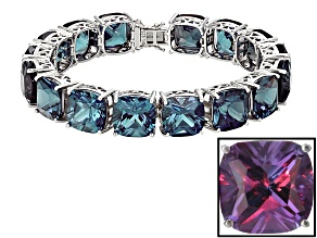 Purple Lab Created Color Change Sapphire Rhodium Over Silver Bracelet 137.76ctw